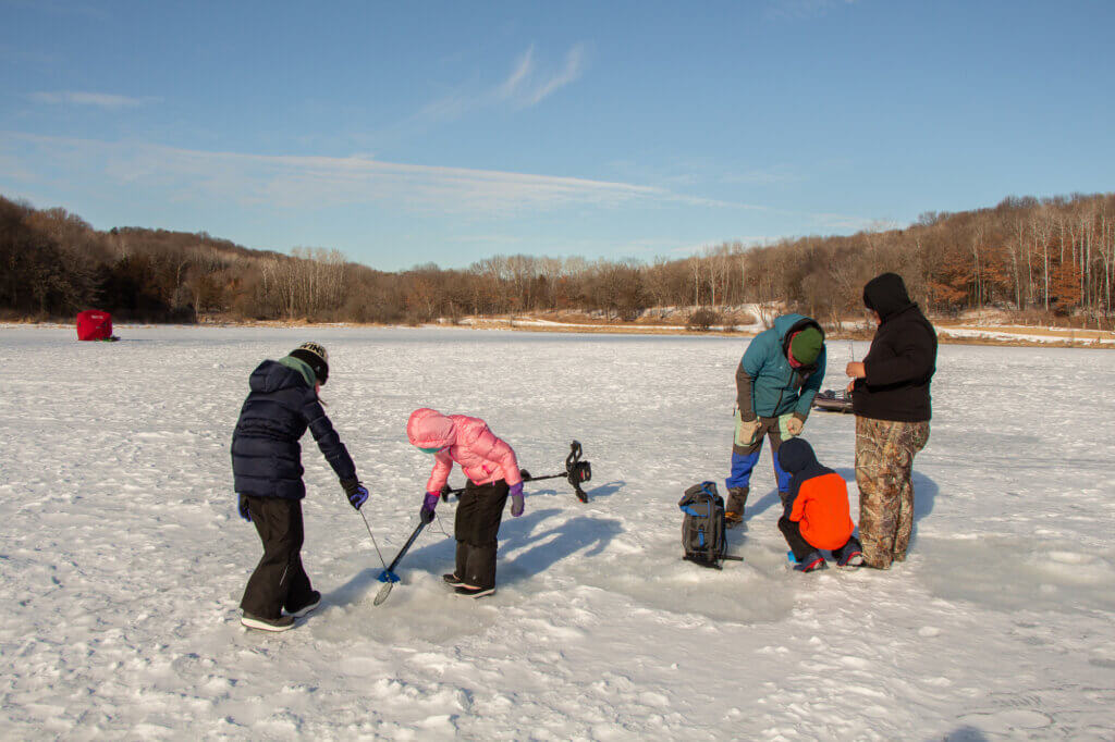 Kids ice-fishing